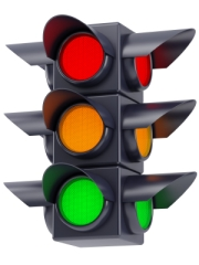 the traffic lights on white background